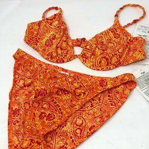 NEW Point Conception Large Bikini Set Orange Karma